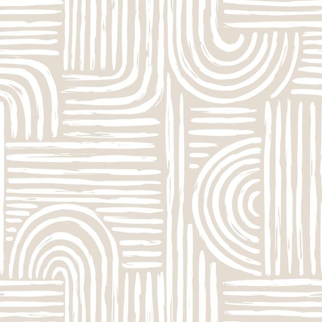 Padrão sem emenda contemporâneo com linha abstrata em cores nude.
