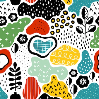 Padrão sem emenda criativo com texturas de mão desenhada