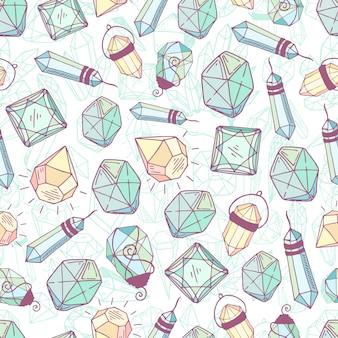 Padrão sem emenda - cristais ou pedras preciosas, textura infinita com pedras preciosas, diamantes, mão desenhada