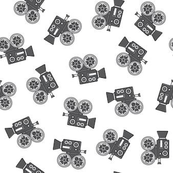 Padrão sem emenda da câmera de filme em um fundo branco. filme e ilustração vetorial de ícone de filme