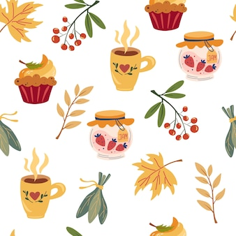 Padrão sem emenda da festa do chá de outono. mão desenhar canecas de chá, potes de geléia, torta de abóbora, frutas vermelhas e folhas. design aconchegante da hora do chá para papéis de parede, embalagens, têxteis, tecidos, decoração, estampas, cartões. vetor