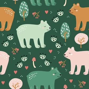 Padrão sem emenda da floresta com urso fofo