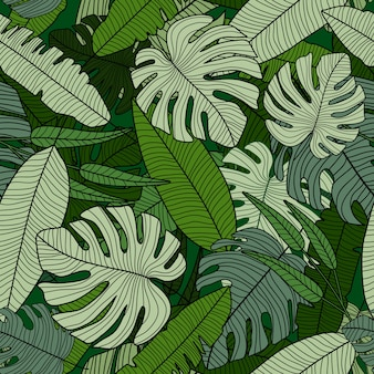 Padrão sem emenda da floresta tropical. cenário de folhas de palmeira tropical exótica moderna.