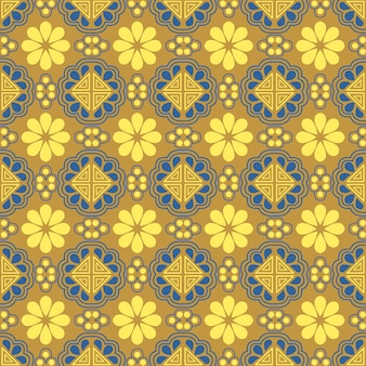 Padrão sem emenda da geometria do triângulo oriental da flor amarela dourada