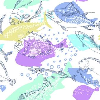 Padrão sem emenda da linha de arte doodle de peixes do mar da natureza