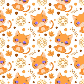 Padrão sem emenda da meditação de animais de fazenda bonito dos desenhos animados. padrão de animais de ioga. o gato medita o padrão.