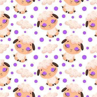 Padrão sem emenda da meditação de animais de fazenda bonito dos desenhos animados. padrão de animais de ioga. ovelha medita o padrão.