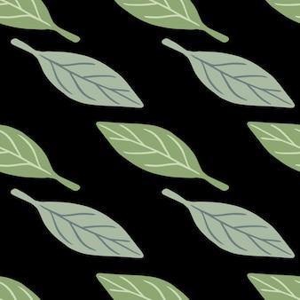 Padrão sem emenda da natureza minimalista com formas de folhas verdes e azuis