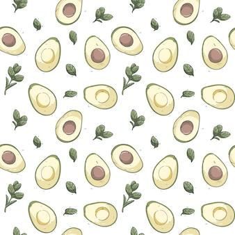 Padrão sem emenda de abacate desenhado de mão