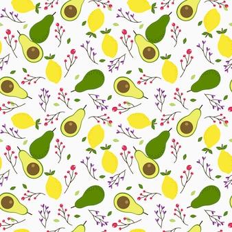 Padrão sem emenda de abacate e limão. fruta fresca e comida saudável para comer o conceito.