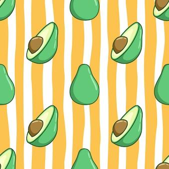 Padrão sem emenda de abacate fofo com estilo colorido doodle