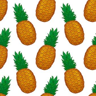 Padrão sem emenda de abacaxi colorido desenhado à mão