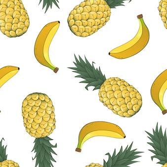 Padrão sem emenda de abacaxi e banana em branco