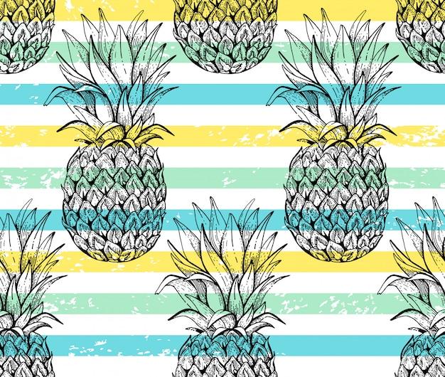 Padrão sem emenda de abacaxi, esboço doodle textura.