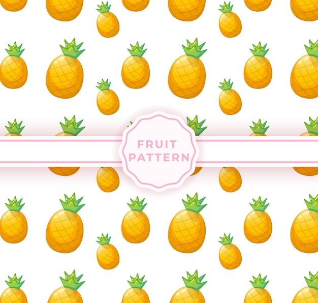 Padrão sem emenda de abacaxi fofo. padrão de frutas fofas