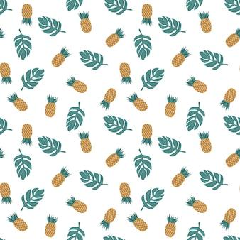 Padrão sem emenda de abacaxi isolado em ilustração vetorial branco fundo tropical