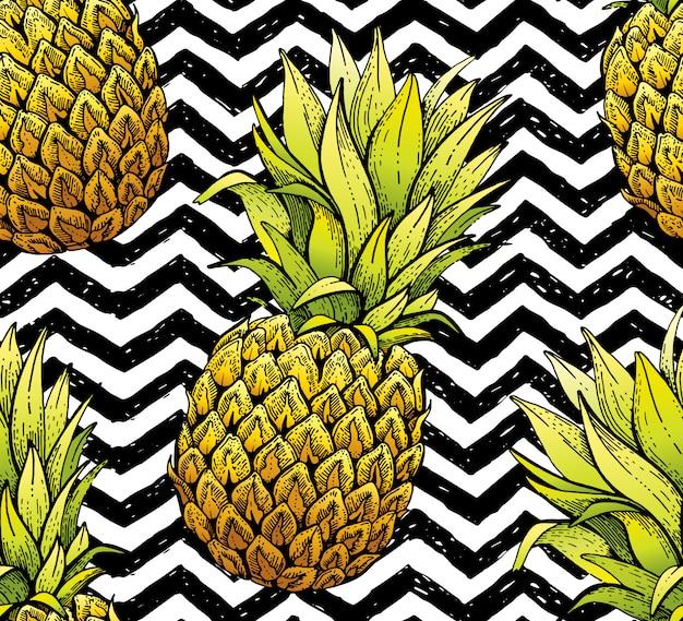 Padrão sem emenda de abacaxi, textura de mão desenhada doodle. impressão de têxteis para vestuário. linha artesanal ananás, fundo listra grunge.