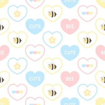 Padrão sem emenda de abelha e flor fofa