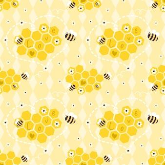 Padrão sem emenda de abelhas e favos de mel