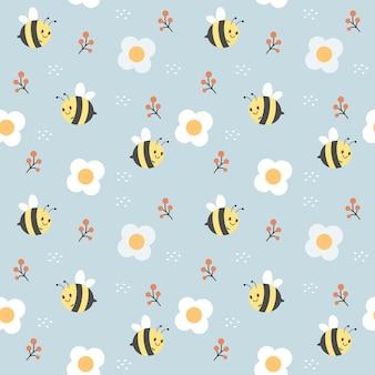 Padrão sem emenda de abelhas fofas e flores brancas em fundo azul claro