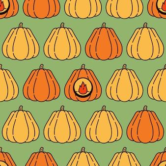 Padrão sem emenda de abóbora de halloween