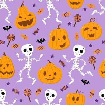 Padrão sem emenda de abóbora, esqueleto, morcego, pirulito e doce laranja assustador