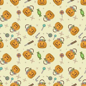Padrão sem emenda de abóbora halloween