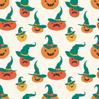 Padrão sem emenda de abóboras de halloween