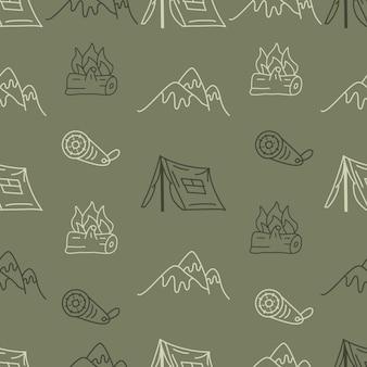 Padrão sem emenda de acampamento desenhado de mão vintage com elementos retrô campista, barraca e montanhas. gráficos de arte de linha de aventura. stock vector caminhadas fundo linear.