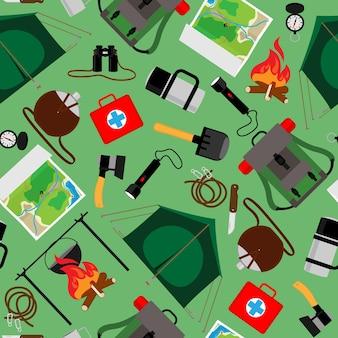 Padrão sem emenda de acampamento florestal