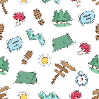 Padrão sem emenda de acampar com estilo doodle colorido