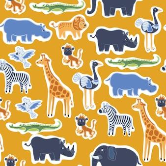Padrão sem emenda de adesivos de animais fofos engraçados