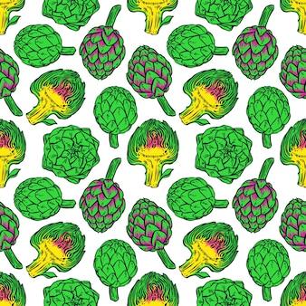 Padrão sem emenda de alcachofras de cores brilhantes. ilustração desenhada à mão