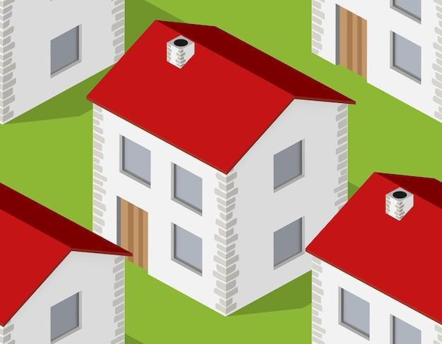 Padrão sem emenda de aldeia isométrica. paisagem de estrutura suburbana de casa de campo de villa de fazenda com parque de árvores, gramado e ruas