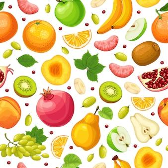 Padrão sem emenda de alimentos naturais frescos