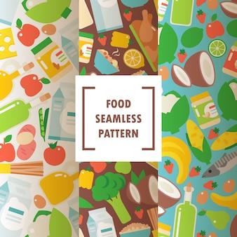 Padrão sem emenda de alimentos orgânicos saudáveis