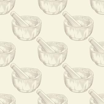 Padrão sem emenda de almofariz. moagem de especiarias e ingredientes sólidos alimentos papel de parede.