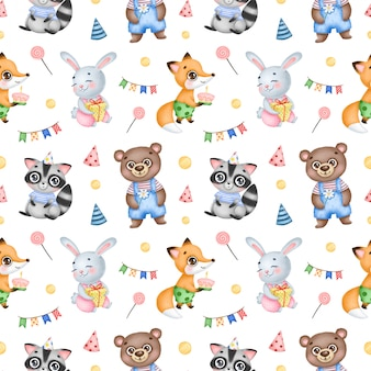 Padrão sem emenda de animais da floresta bonito aniversário dos desenhos animados sobre um fundo branco. festa de aniversário com raposa, coelho, guaxinim e urso
