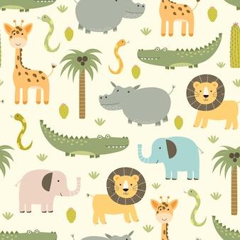 Padrão sem emenda de animais de safári com hipopótamo fofo, crocodilo, leão.