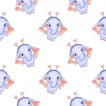 Padrão sem emenda de animais do dia dos namorados. padrão sem emenda de cupido de elefante bonito dos desenhos animados.