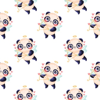 Padrão sem emenda de animais do dia dos namorados. padrão sem emenda de cupido de panda bonito dos desenhos animados.