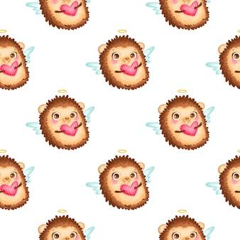 Padrão sem emenda de animais do dia dos namorados. padrão sem emenda de cupido ouriço bonito dos desenhos animados.