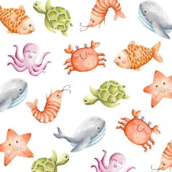Padrão sem emenda de animais do mar bonito aquarela