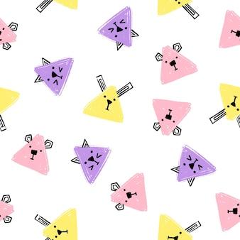 Padrão sem emenda de animais do triângulo kawaii. vetor mão desenhar plano de fundo com os rostos de gatos, cães e coelhos. lápis de fundo infinito textura de triângulo em cores pastel.