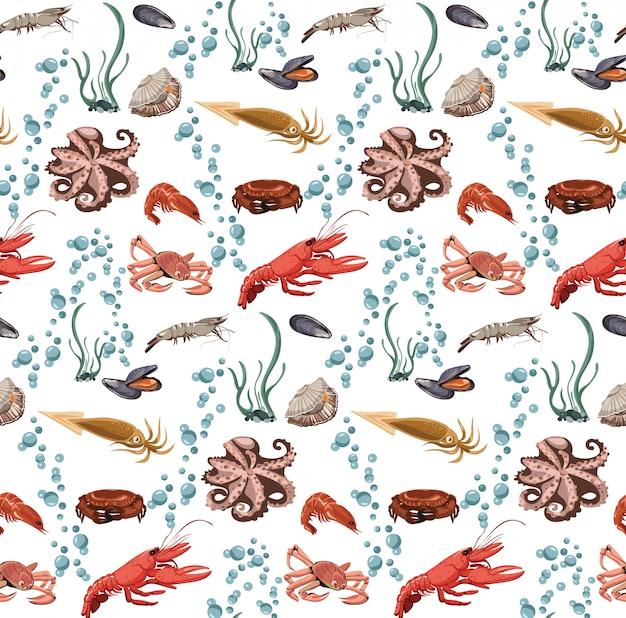 Padrão sem emenda de animais mar e oceano