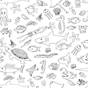 Padrão sem emenda de animais marinhos desenhados à mão