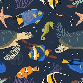 Padrão sem emenda de animais marinhos