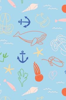 Padrão sem emenda de animais subaquáticos
