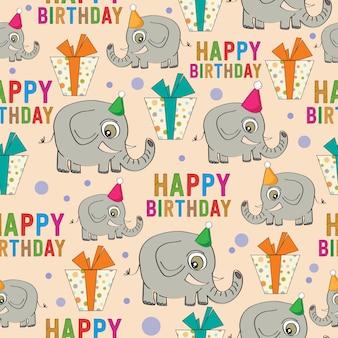 Padrão sem emenda de aniversário com elefantes e presentes Vetor Premium