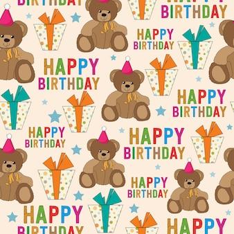 Padrão sem emenda de aniversário com ursinho de pelúcia e presentes
